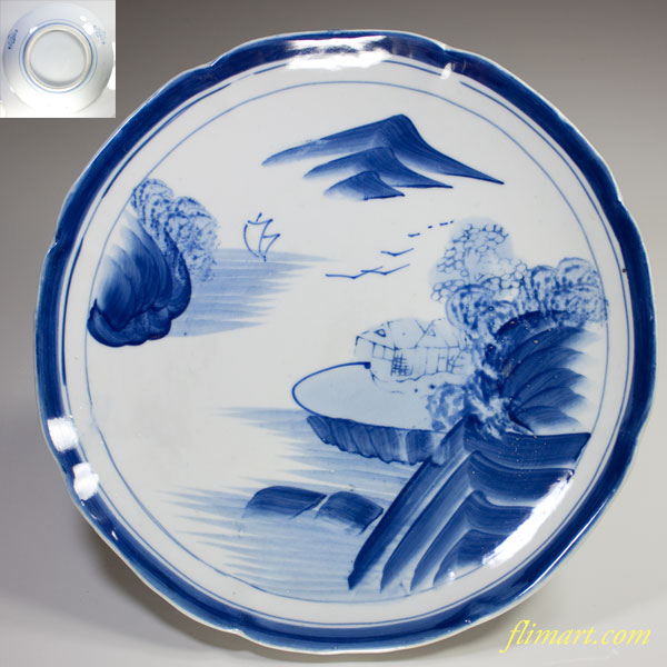 染付山水八寸皿W2656