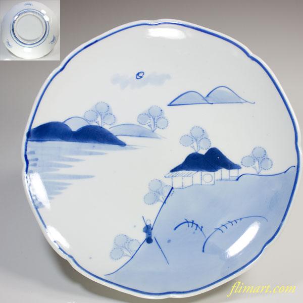 染付山水八寸皿W2664