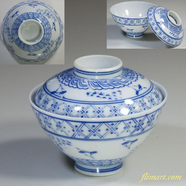 染付雀蓋付茶碗