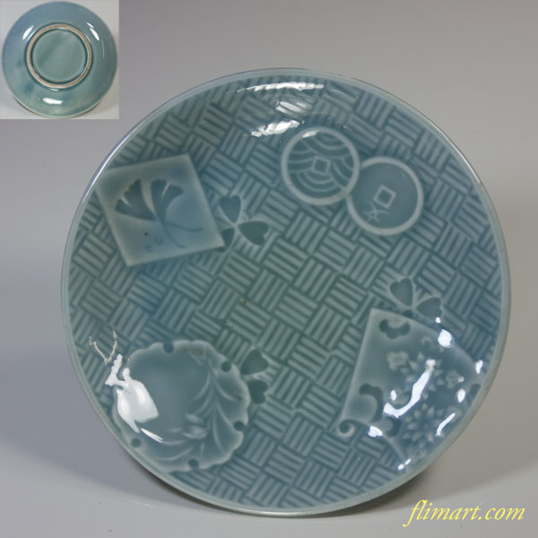 青磁陽刻小皿五枚セットW2680