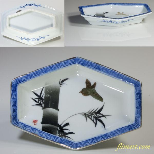 六角竹雀小皿