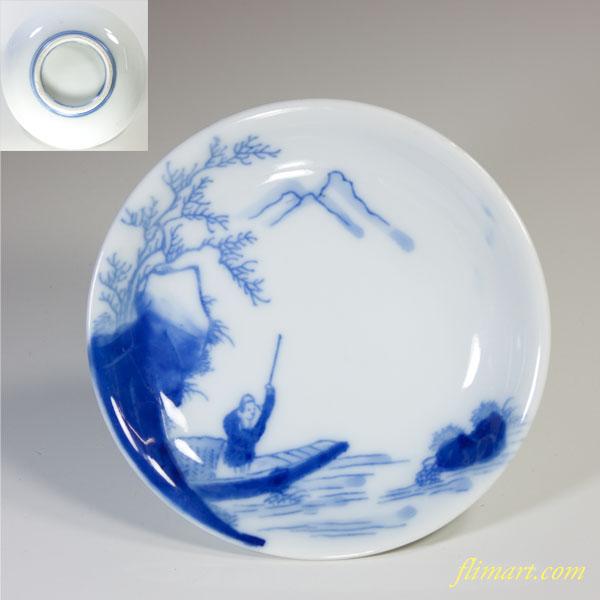 染付山水小皿W2710