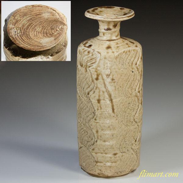 副海窯水野鉐一黄瀬戸花生け花瓶