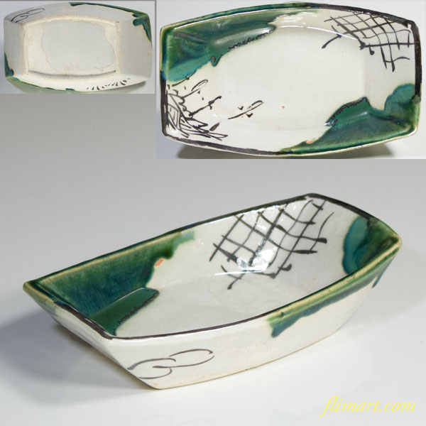 織部舟型皿W2759