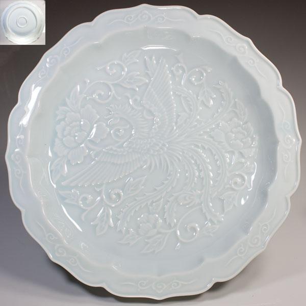 青白磁陽刻鳳凰柄十寸皿