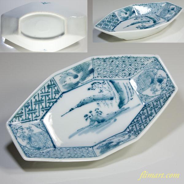 染付印判手八角舟型小皿