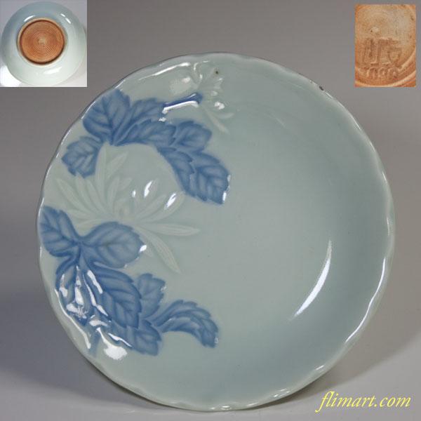統制陶器青白磁陽刻菊柄小皿