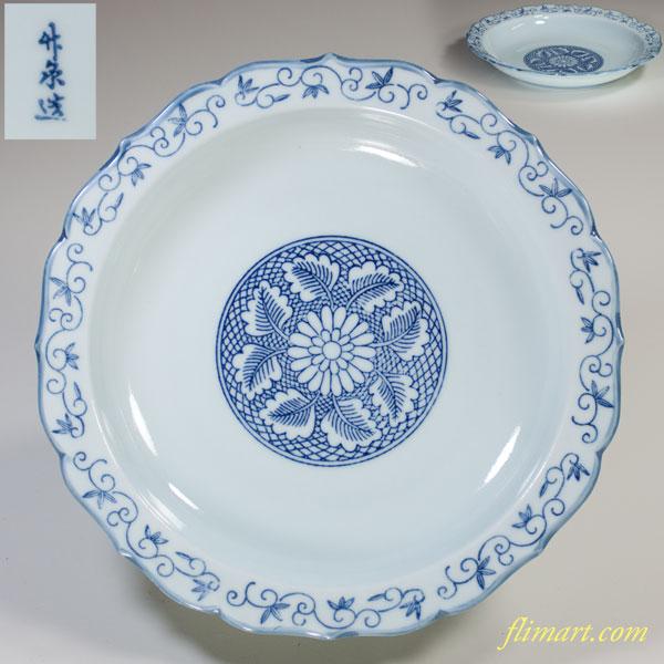 唐草文六寸皿