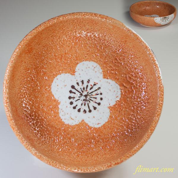 孝山志野梅紋菓子鉢