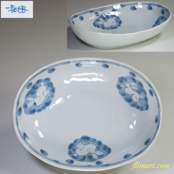 兎柄楕円皿W2863