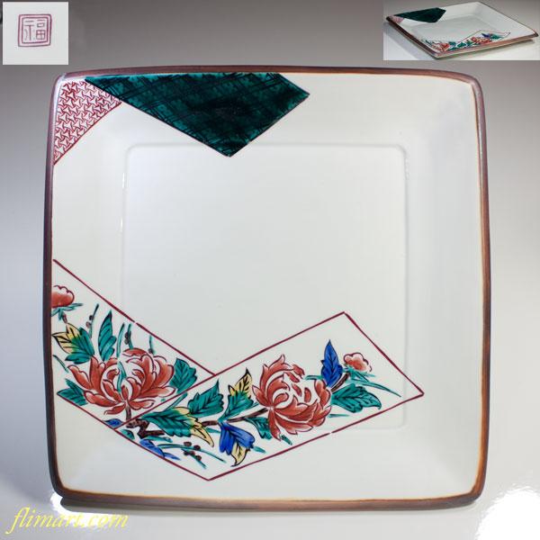 九谷焼折紙牡丹絵角盛皿