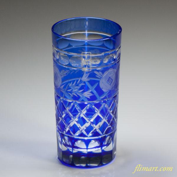 カメイガラス色被硝子切子コップ青