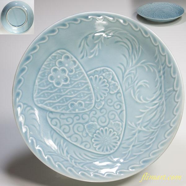 青白磁陽刻六寸皿W2881