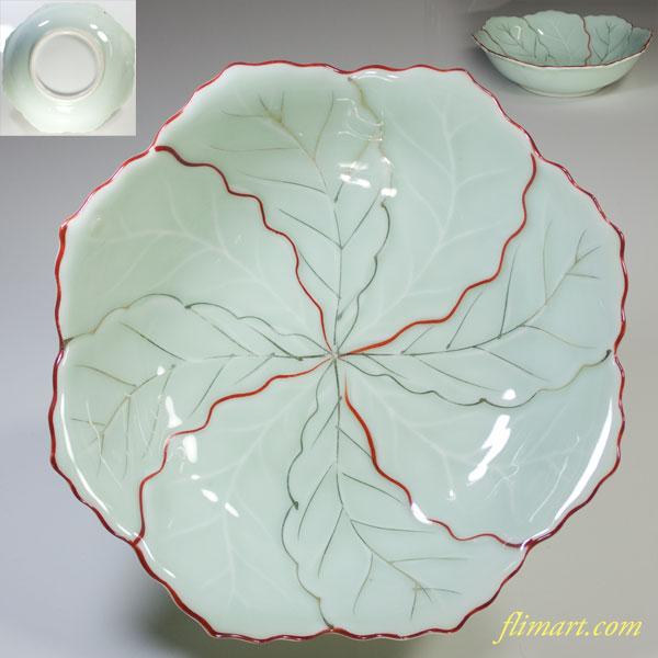 青白磁八角葉型六寸鉢