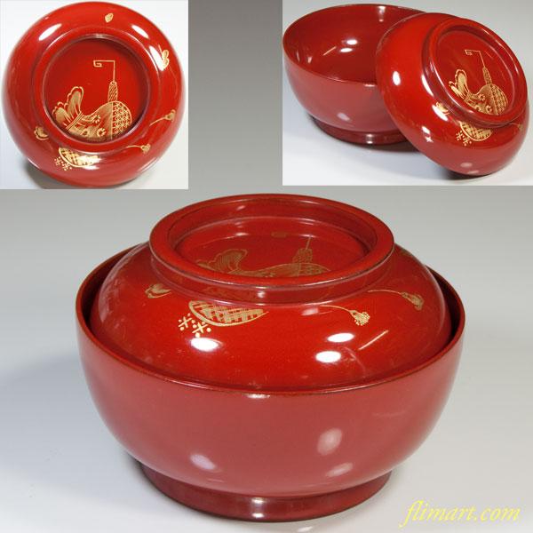 朱塗沈金菓子椀W2892