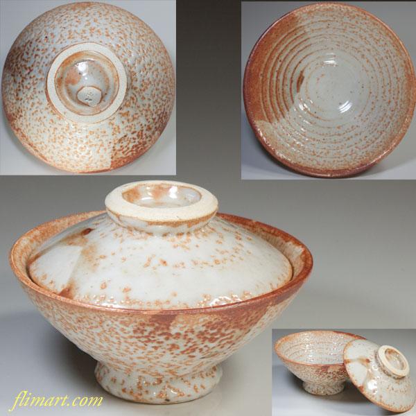 富山窯志野蓋付飯茶碗