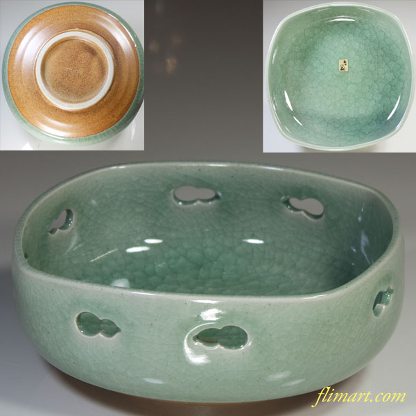 青磁氷裂貫入菓子鉢W2965