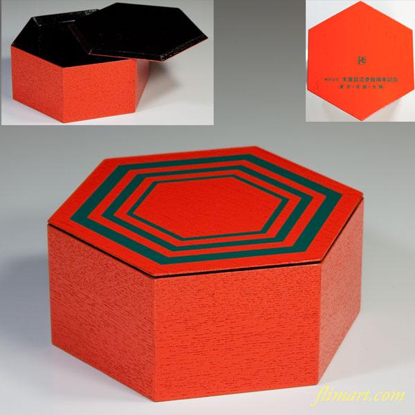六角木製蓋付入物