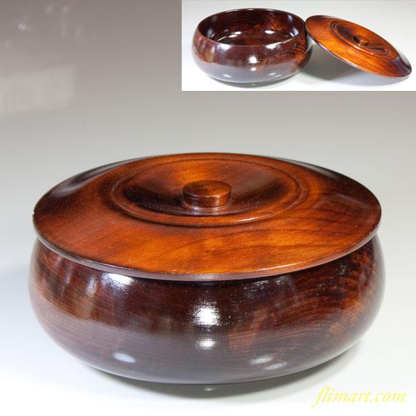 木製蓋付菓子器W3337