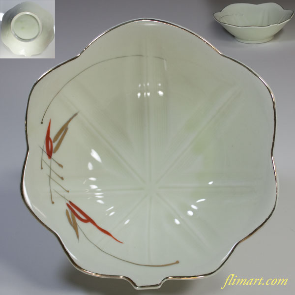 紅葉葉型竹柄鉢