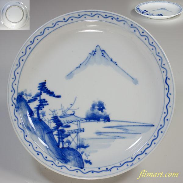 染付山水六寸半皿W2999