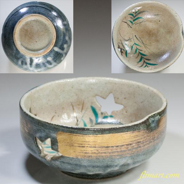 透かし桔梗花菓子鉢