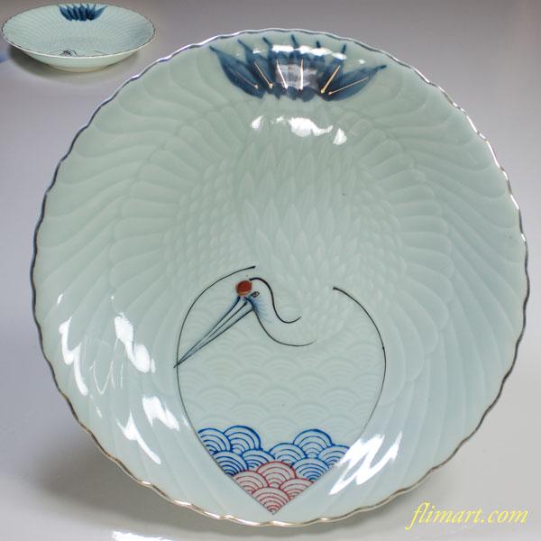 青白磁鶴文八寸鉢