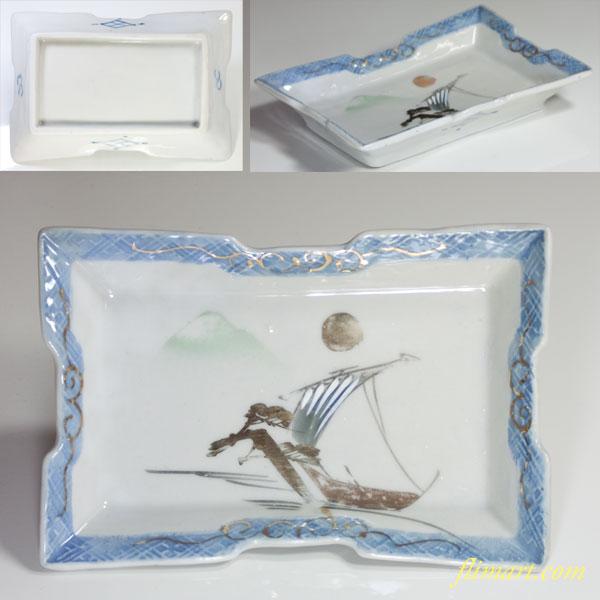 月富士山帆船松図角皿
