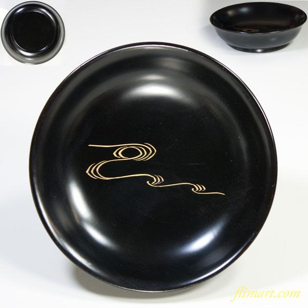 木製黒塗漆器沈金小皿