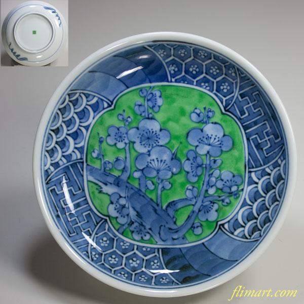幸泉緑彩五寸半皿