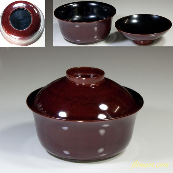 木製漆器蓋付碗W3146