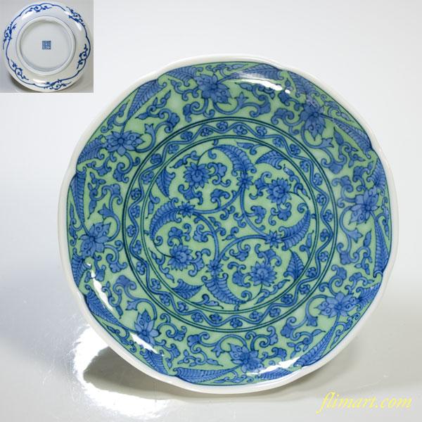 三洋陶器龍峯緑彩唐草小皿