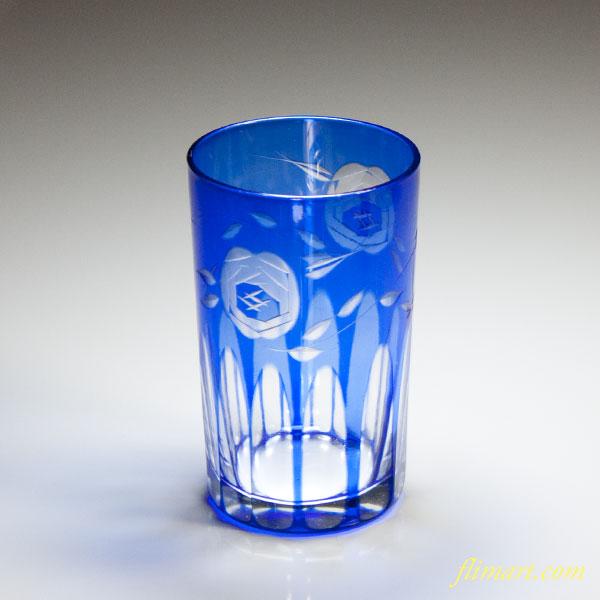 ガラス色被硝子切子グラス青
