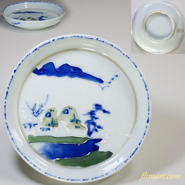 山水小皿W3177
