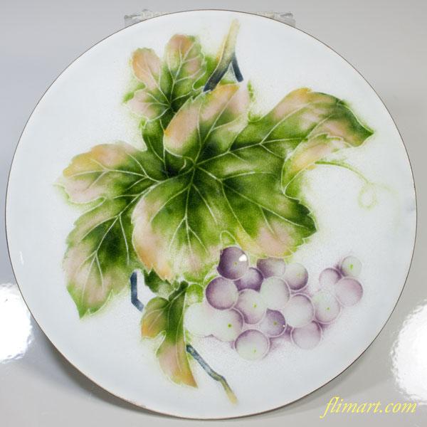 葡萄柄七宝飾皿