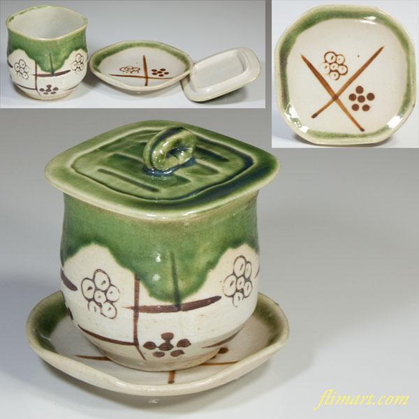 織部小皿付蓋付茶碗蒸し