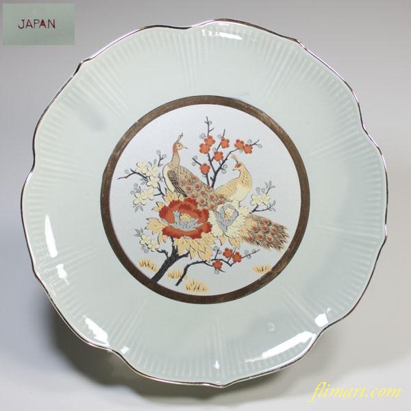 青白磁金彩花鳥雉柄六寸皿