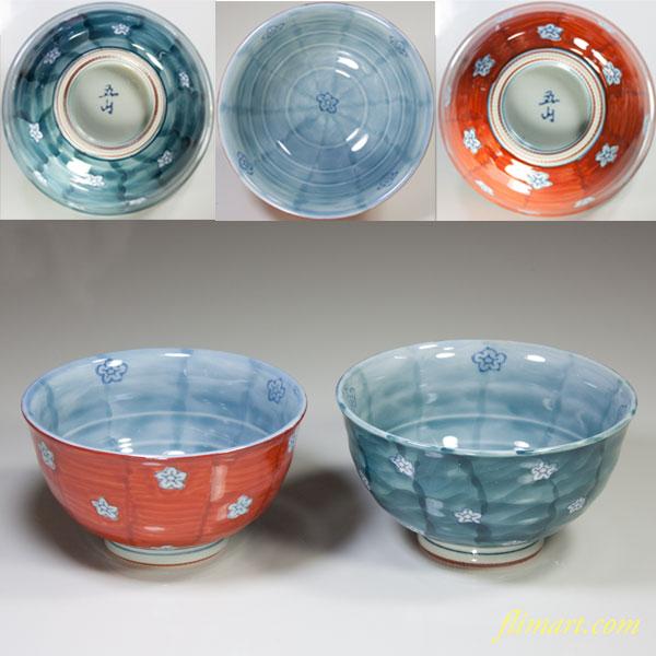 有田焼花柄小紋夫婦茶碗