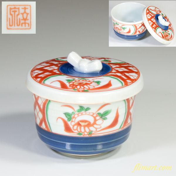 赤絵蒸茶碗W3293