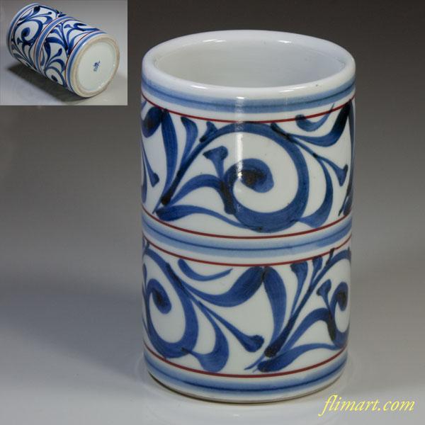 砥部焼梅山窯唐草花瓶