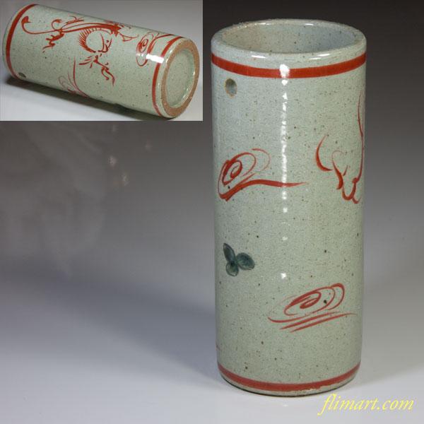 渋草赤絵花器