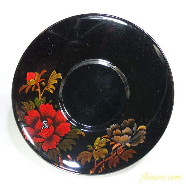 木製漆器螺鈿花柄茶托