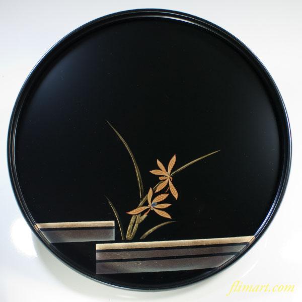 箔一金箔天然木漆器蘭十寸丸盆