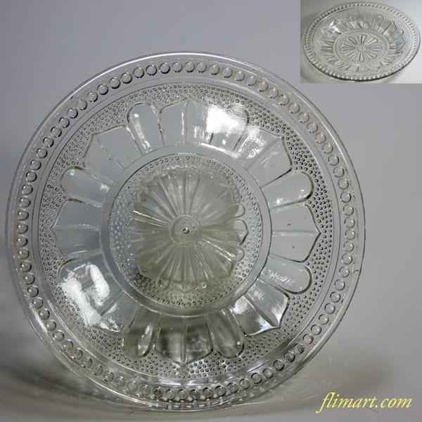 菊紋ガラスプレス皿
