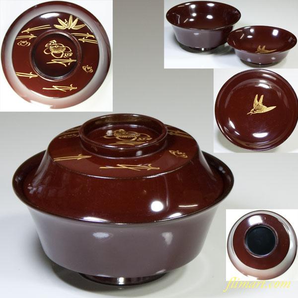 木製漆器沈金吸物椀