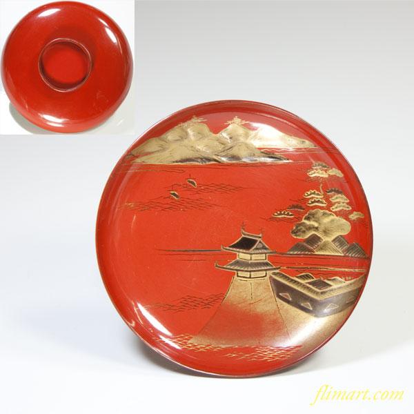 蒔絵朱塗豆皿