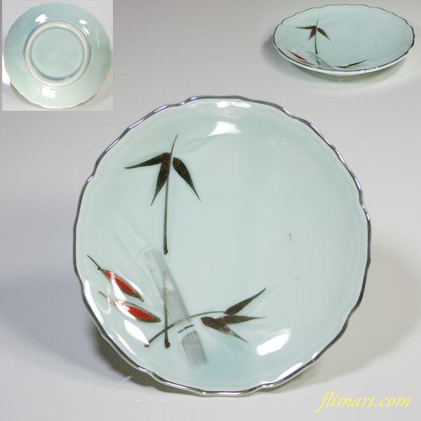 青白磁竹紋小皿W3446