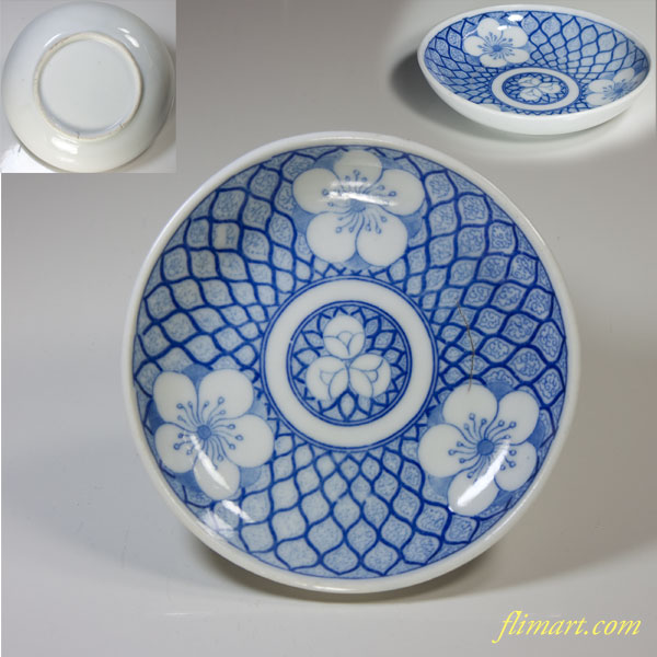 印判手梅紋網目豆皿
