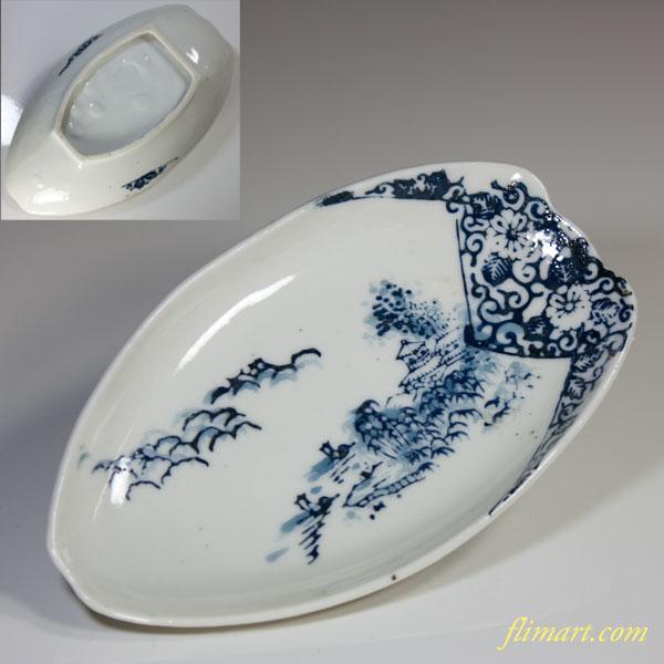 山水舟型小皿W3389