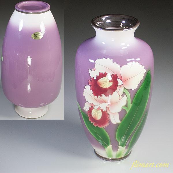 黒翠七宝花柄花瓶W5073